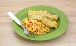 Enchiladas Rice Fork Green Plate Table Top Stock Photography