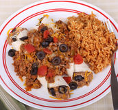 Enchiladas and Rice Royalty Free Stock Images