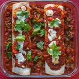 Enchiladas Rojas med Nopales och svarta bönor Arkivbild