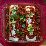 Enchiladas Rojas with Nopales and Black Beans. Enchilada covered in Oaxaca Cheese and Cilantro with a rice and bean filling Royalty Free Stock Photography