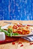 Enchiladasschotel met roodgloeiende Spaanse peper met zure room Royalty-vrije Stock Fotografie