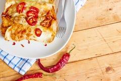 Enchiladasschotel met roodgloeiende Spaanse pepers Royalty-vrije Stock Fotografie