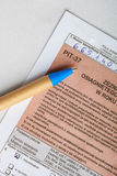 Enchimento no formulário de imposto individual polonês PIT-37 2013 Fotografia de Stock Royalty Free