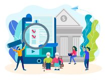 Enchimento no formulário em linha por empregados do banco ilustração royalty free