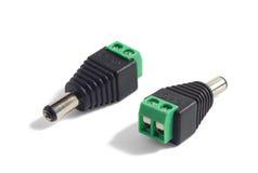 Enchufe de la conexión de la corriente continua con los tornillos Fotografía de archivo