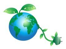 Enchufe de la tierra verde Ilustración del Vector