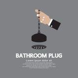 Enchufe del cuarto de baño con la cadena Imagen de archivo libre de regalías