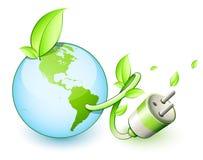 Enchufe eléctrico de la tierra verde stock de ilustración
