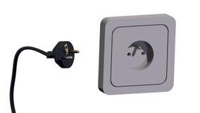 Enchufe eléctrico y socket 3d Fotografía de archivo libre de regalías
