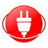 Enchufe el ejemplo del vector, icono rojo Imagen de archivo