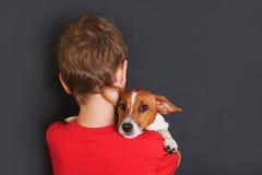 Enchufe lindo Russell del perrito del abarcamiento del pequeño niño Fotos de archivo