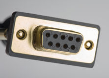 Enchufe serial de la hembra del cable RS232 Fotos de archivo libres de regalías