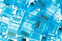 Enchufes azules del lan de Ethernet rj45 Imagen de archivo libre de regalías