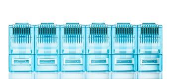Enchufes azules del lan de Ethernet rj45 Imagen de archivo