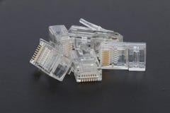 Enchufes en blanco de Ethernet RJ45 Fotografía de archivo