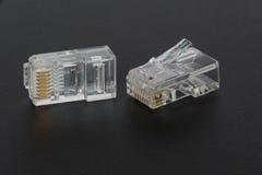 Enchufes en blanco de Ethernet RJ45 Foto de archivo
