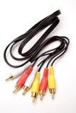 Enchufes y cable del RCA Imagen de archivo