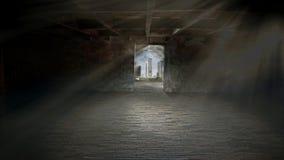 Enciéndase en el extremo del túnel a la ciudad Imágenes de archivo libres de regalías