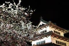 Enciéndase para arriba del castillo y de las flores de cerezo de Hirosaki Imagenes de archivo