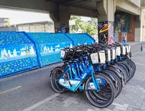 Public bicycles of Medellin, Colombia. Sustainable and ecological mobility royalty free stock photos
