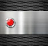 Encienda el botón rojo en fondo plateado de metal Fotos de archivo libres de regalías