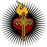 Encienda el corazón y la cruz Foto de archivo