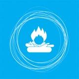 Encienda el icono en un fondo azul con los círculos abstractos alrededor y coloqúelo para su texto stock de ilustración
