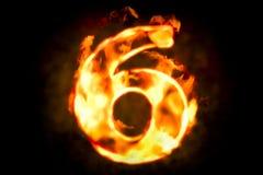 Encienda el número 6 de luz ardiente de la llama, 3D ilustración del vector
