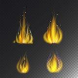 Encienda el peligro caliente de la quemadura de la llama del icono caliente del vector y cocinar la hoguera ardiente ligera de la Imagenes de archivo