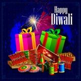Encienda la galleta con el regalo para el fondo feliz del día de fiesta de Diwali ilustración del vector
