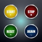 Encienda la parada y otra vez los botones del reset Fotografía de archivo