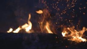 Encienda las llamas con las chispas en un fondo negro almacen de video
