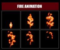 Encienda los sprites de la animación, marcos video de la llama del vector para el diseño de juego Imagen de archivo libre de regalías