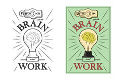 Encienda su cerebro y trabaje Letras a mano con el texto de motivación stock de ilustración