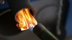 Encienda un fuego a los pedazos de madera para quemar del carbón almacen de metraje de vídeo