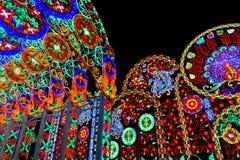 Enciende la decoración en la luz de Bangkok del festival de la felicidad Imágenes de archivo libres de regalías