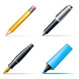 Encierre los iconos. Lápiz, pluma y etiqueta de plástico Imagen de archivo libre de regalías