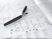 Pluma y un diagrama de proceso imagenes de archivo