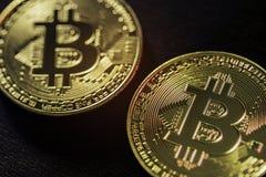 Encima de cercano en tecnology del bitcoin fotos de archivo libres de regalías
