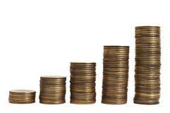 Encima de diagrama del dinero sobre blanco Imagen de archivo