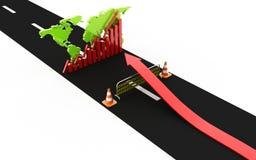 Encima de gráfico de negocio del alcance de la flecha sobre la barrera del camino Foto de archivo libre de regalías