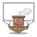 Encima de la chimenea del ladrillo del tablero en la mascota de la forma ilustración del vector