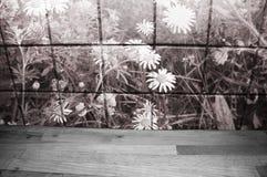 Encimera de madera delante de las tejas de la cocina con los dientes de león y las margaritas Sepia entonada imagen de archivo libre de regalías
