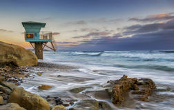 Cardiff Reef CA. Cardiff Reef Classic Lifeguard Tower royalty free stock photo