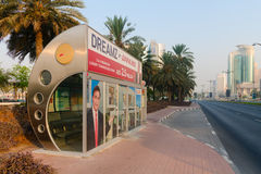 Enclosed, air conditioned, city bus stop in downtown Dubai. Royalty Free Stock Photos