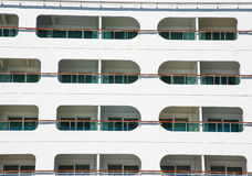 Enclosed Balconies on White Cruise Ship Stock Image
