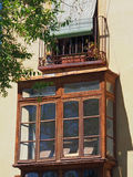 Enclosed Balcony on Historic Spanish Building Stock Photography