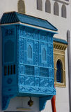 Enclosed balcony Tunis. Exterior view of enclosed decorative blue balcony on side of building, Tunis, Tunisia Stock Image