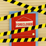 Enclosed with a barrier tapes house. Mortgage crisis as an enclosed with a barrier tapes house with a plate written foreclosed on it Royalty Free Stock Photography