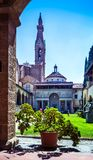 Enclosed court of Basilica di Santa Croce Basilica of the Holy Cross, Florence Firenze, Italy. royalty free stock photos